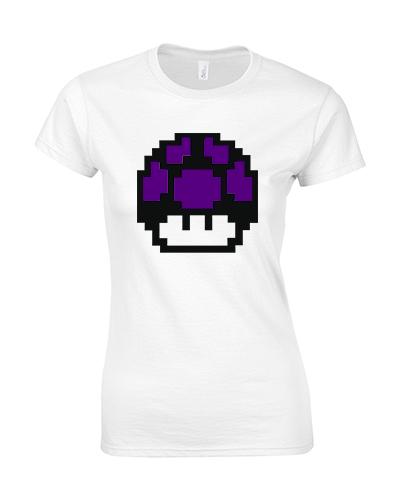 koszulka biala damska grzyb mario fioletowy