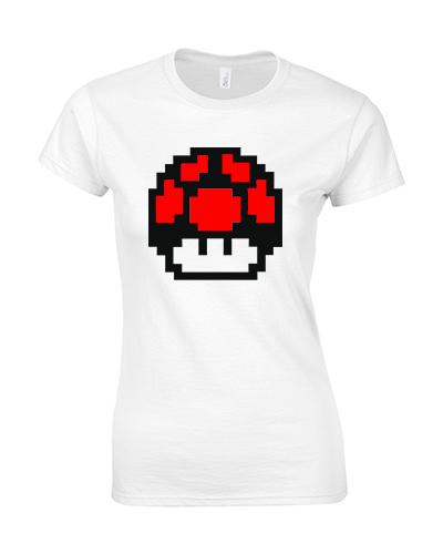 koszulka damska biala mario grzyb czerwony