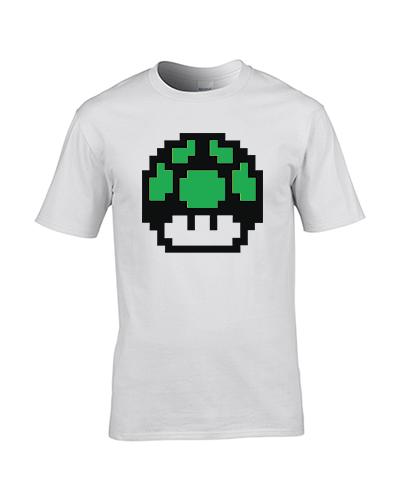 koszulka meska biala mario grzyb zielony