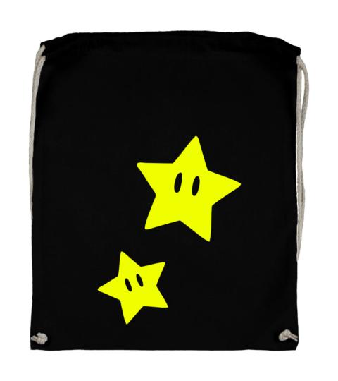 plecak bawelniany czarny mario star gwiazdka