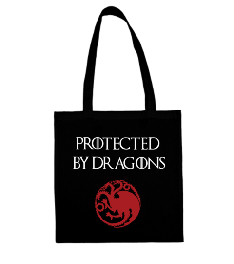 torba z napisem protected by dragons czarna