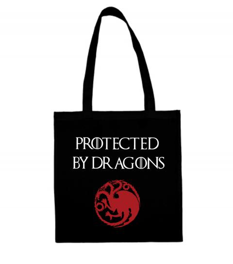 torba z napisem protected by dragons czarna
