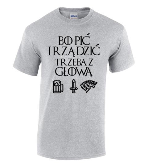 koszulka meska gra o tron bo pic szara